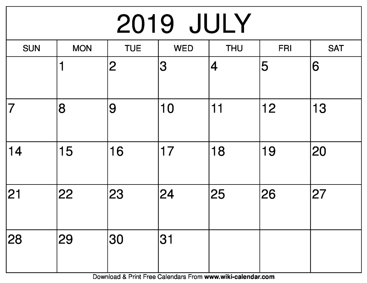 July 2019 Calendar Month Cablo Commongroundsapex Co