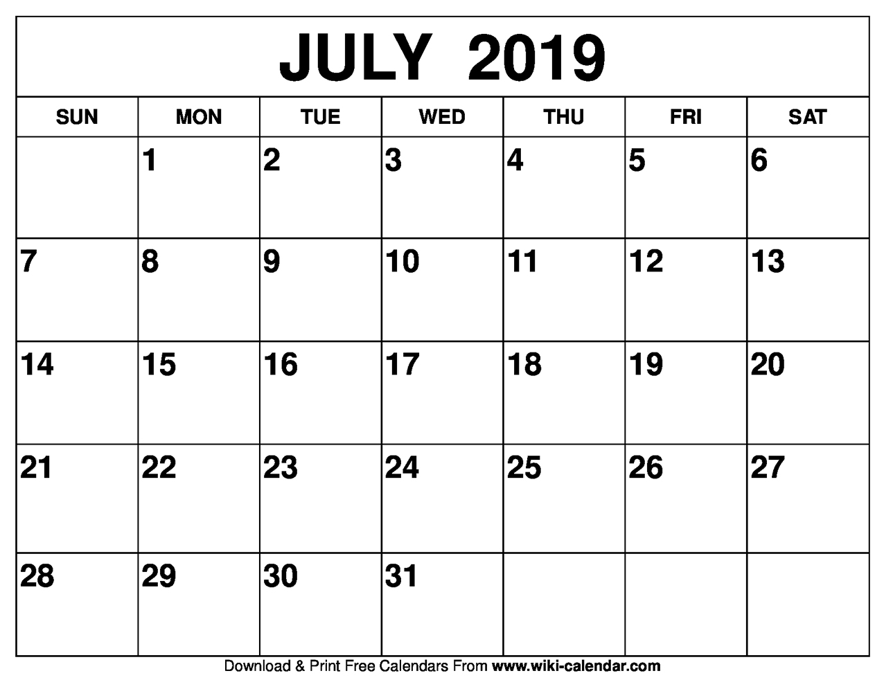 Calendar For July 2019 Blank July 2019 Calendar Printable