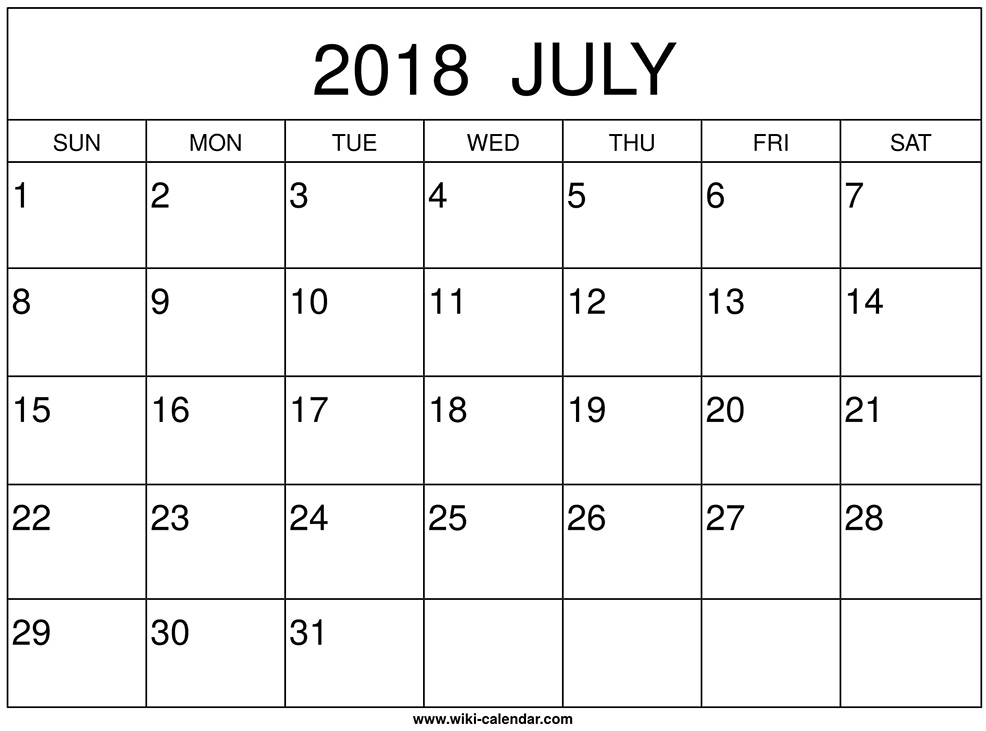 graphic relating to Printable Wiki identify July 2018 Calendar Printable - Wiki-Calendar.Com - jsdo.it