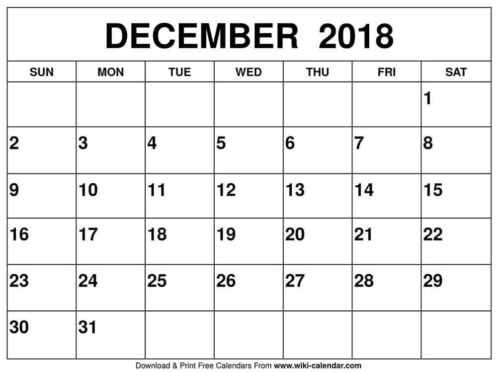December Calendar Printables : Blank december calendar printable