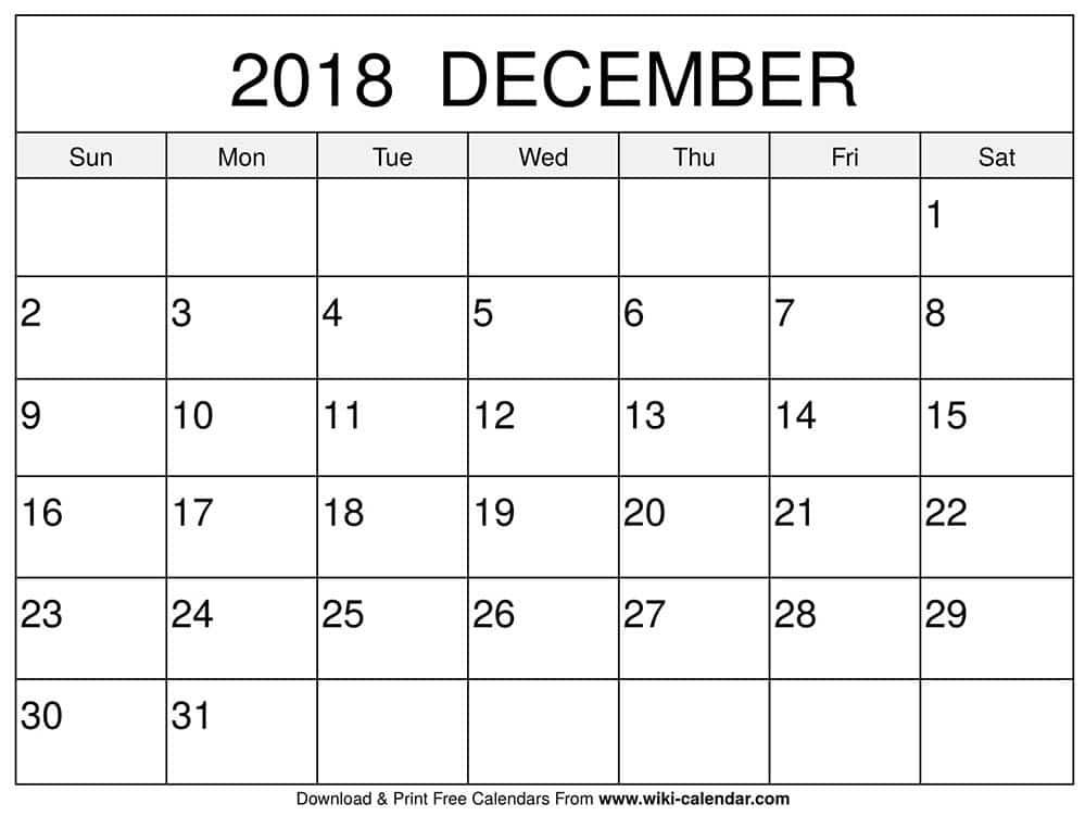 blank december 2018 calendar