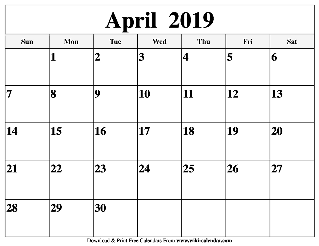 2019 Easter Calendar Blank April 2019 Calendar Printable