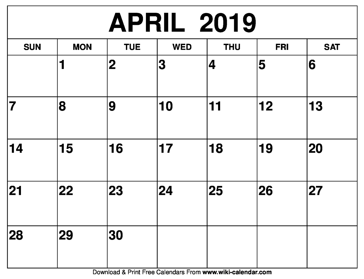 blank april 2019 calendar printable on we heart it