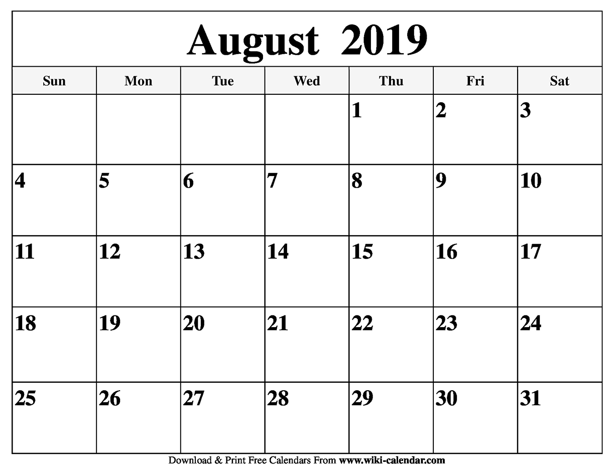 graphic about Printable Calendars Free called Absolutely free Printable August 2019 Calendar