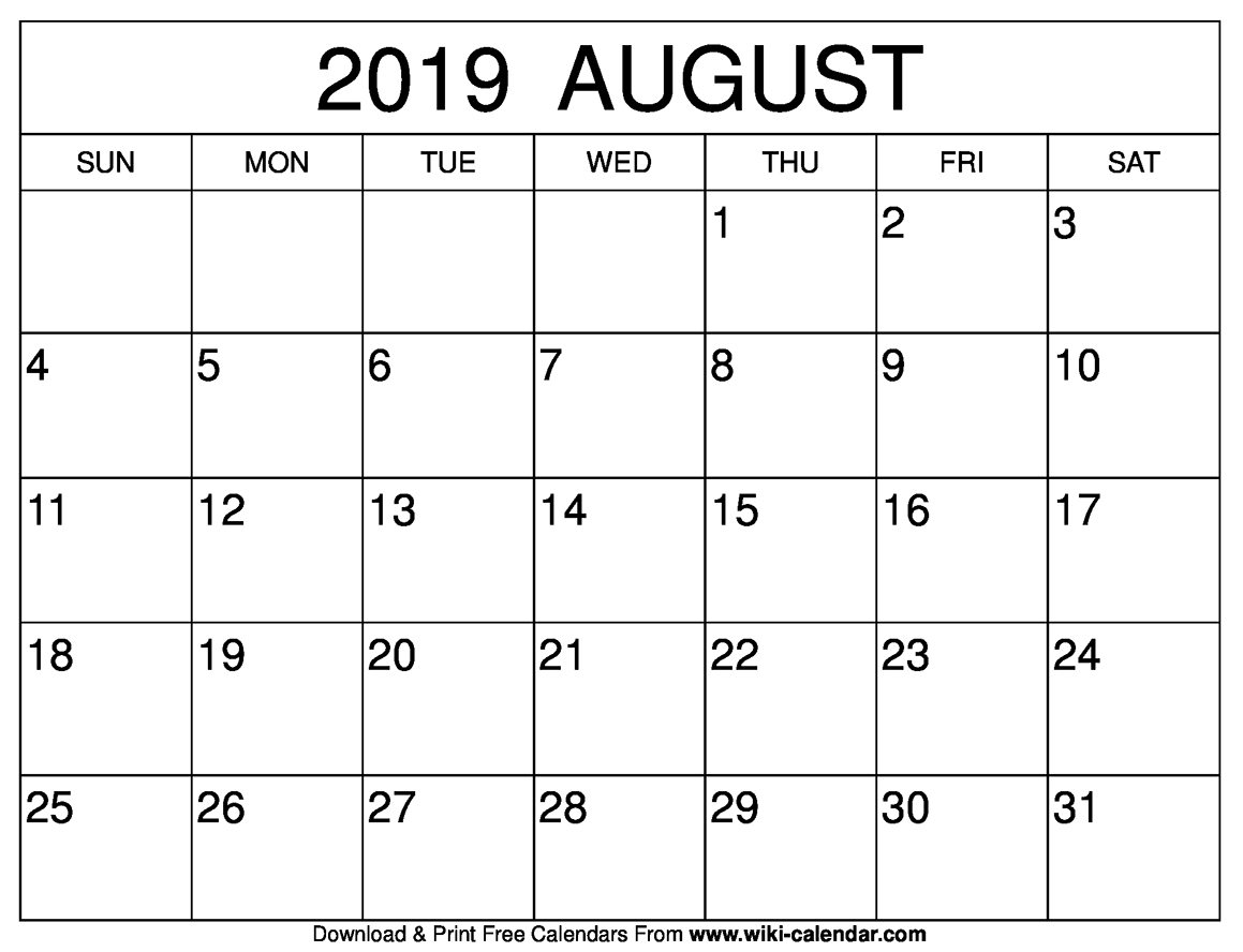 August 2019 Calendar With Holidays.Blank August 2019 Calendar Printable Templates