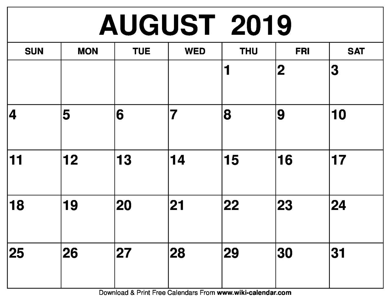 image relating to Calendars Printable referred to as Cost-free Printable August 2019 Calendar