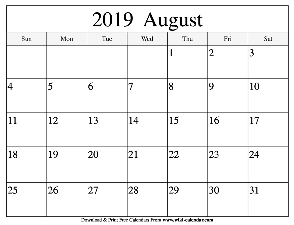 photograph relating to Free Printable Calendar August named Cost-free Printable August 2019 Calendar
