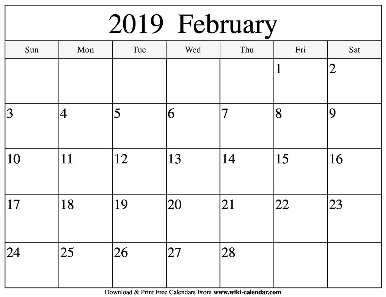 Print-A-Calendarcom February 2019 Blank February 2019 Calendar Printable   jsdo.it   Share