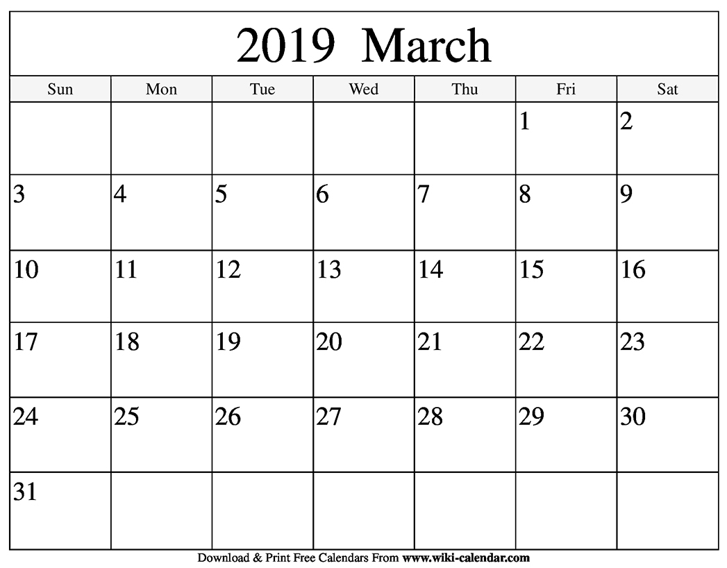 Blank March 2019 Calendar Printable Jsdo It Share