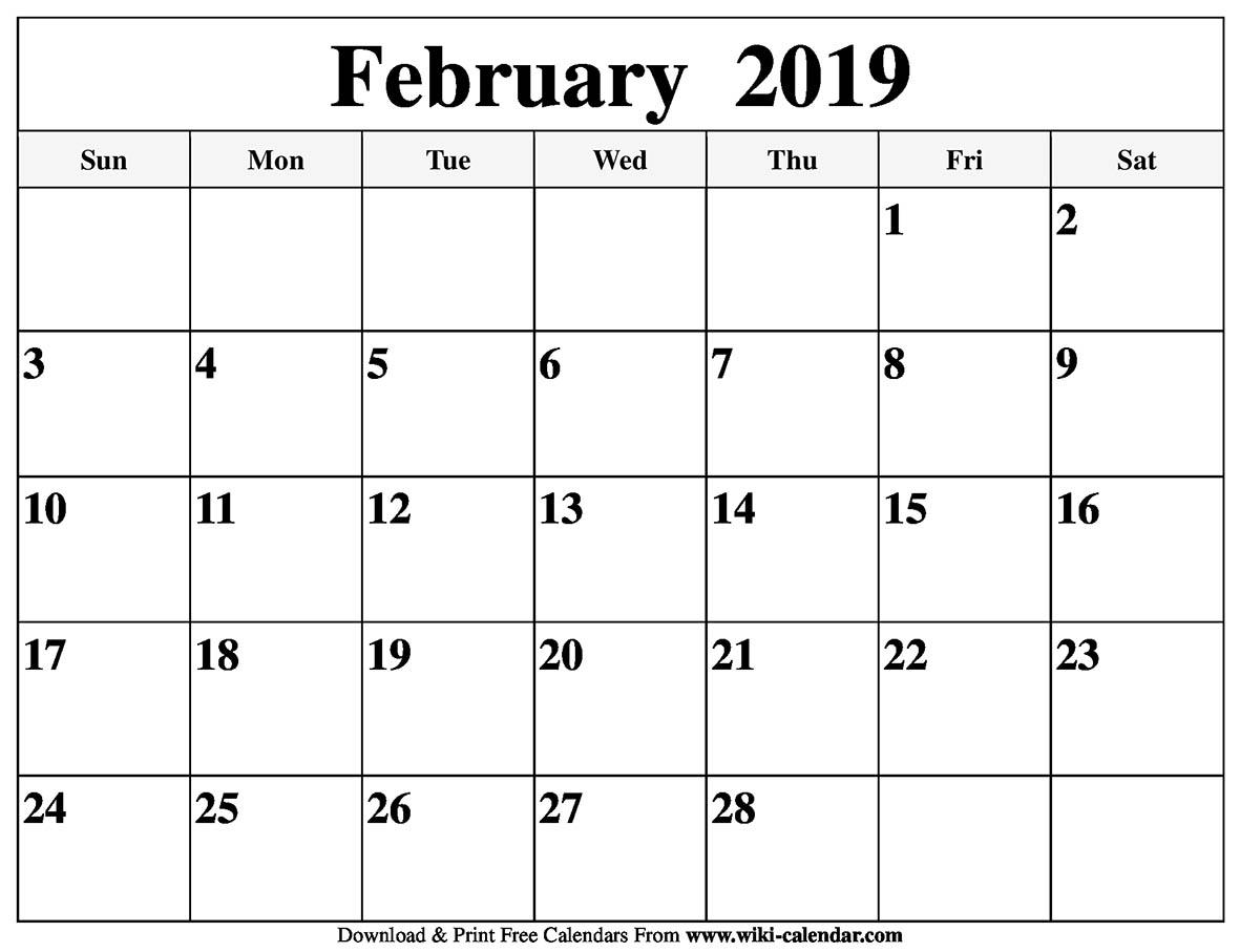 Blank Calendar For Feb 2019 Blank February 2019 Calendar Printable