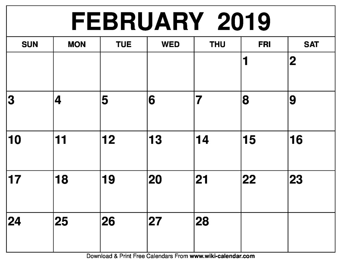 February calendar Printable template February 2019 calendar with holidays