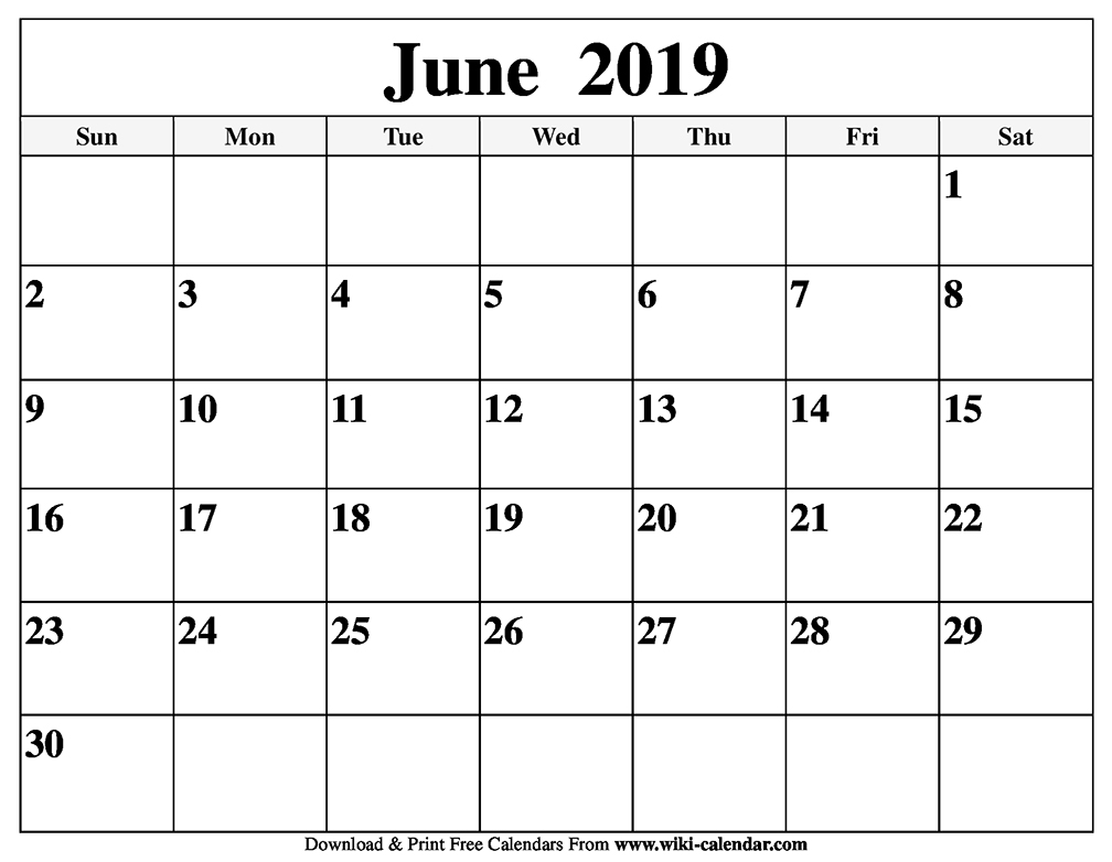 June 2019 To June 2020 Calendar Printable.Blank June 2019 Calendar Printable