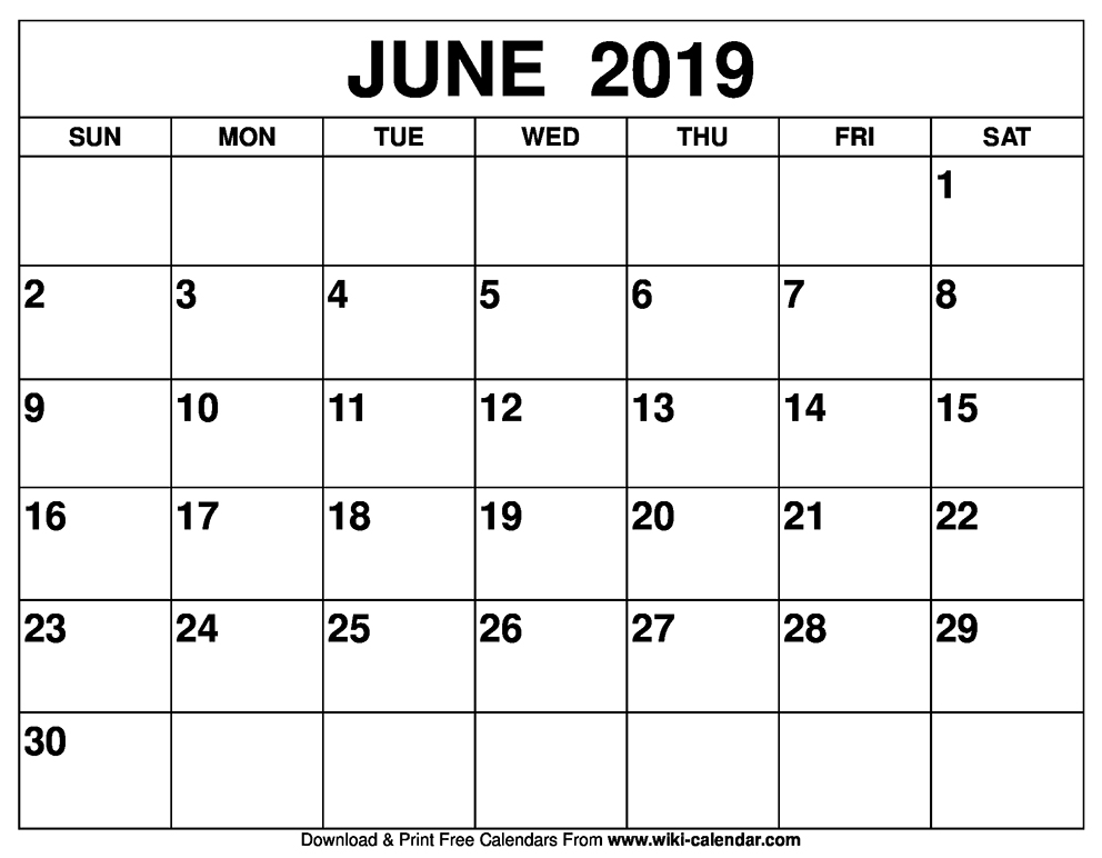 Calendar Of June.Blank June 2019 Calendar Printable