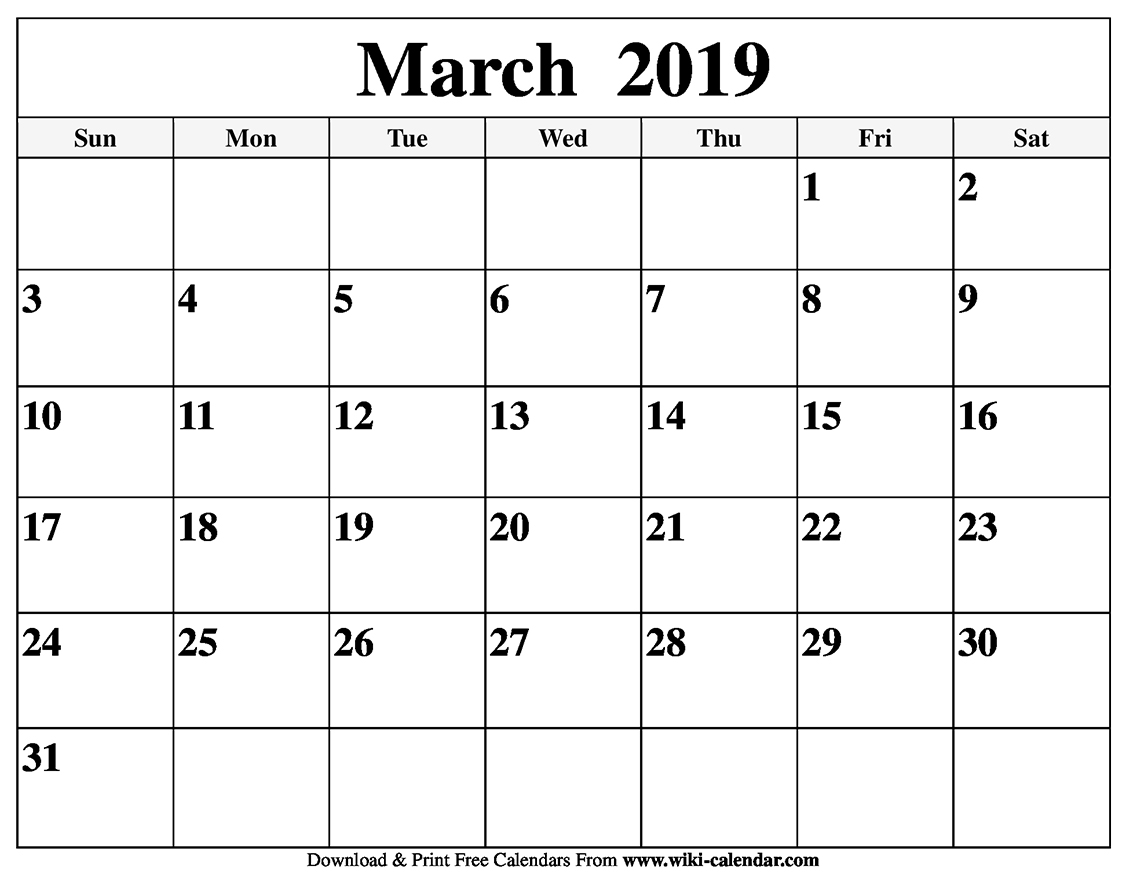2019 Calendar To Print For Free Blank March 2019 Calendar Printable