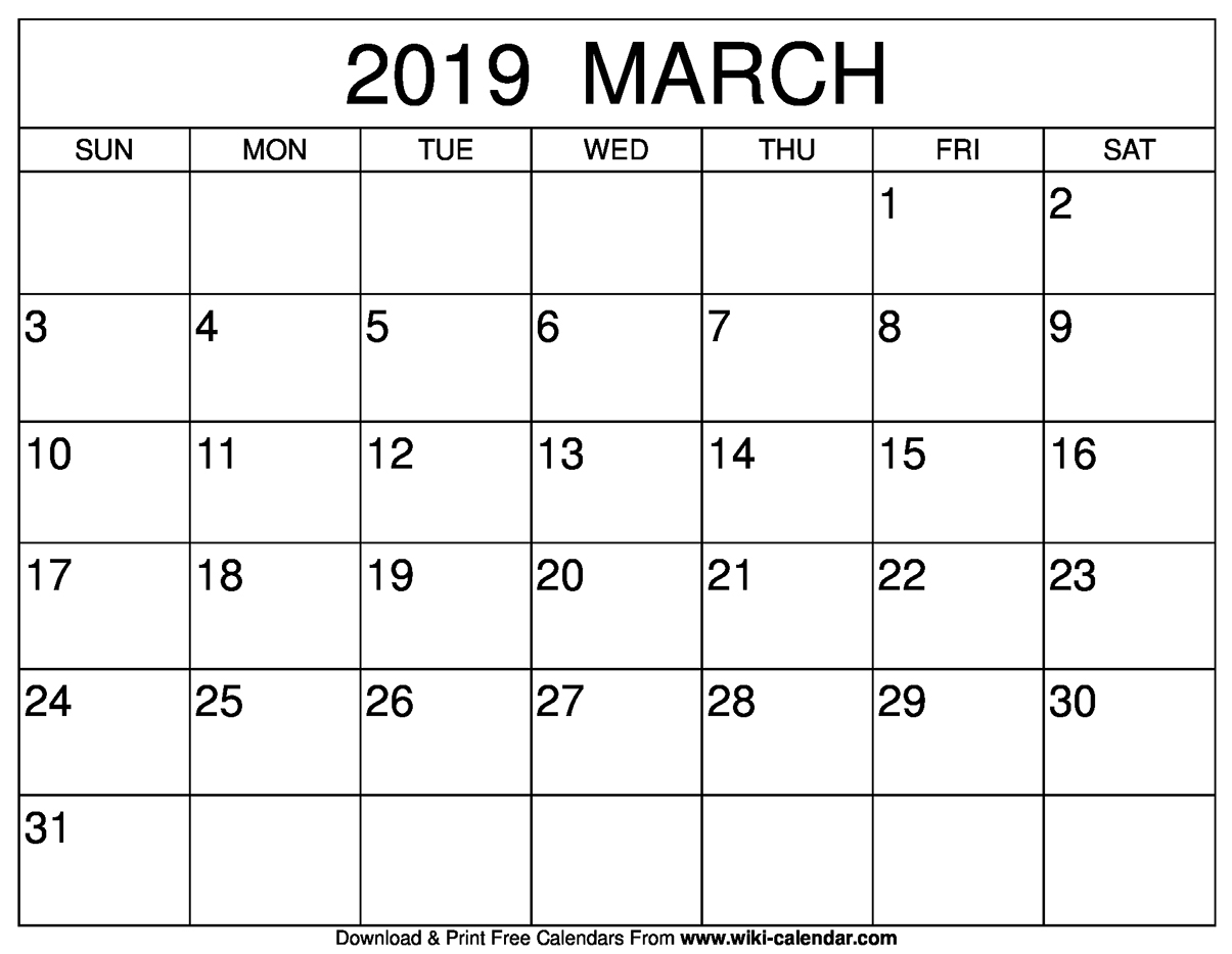 photograph about Printable Wiki referred to as Blank March 2019 Calendar Printable - jsdo.it - Percentage