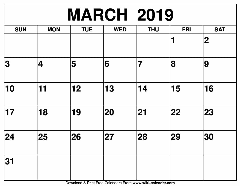 Printable March 2019 Calendar Blank March 2019 Calendar Printable