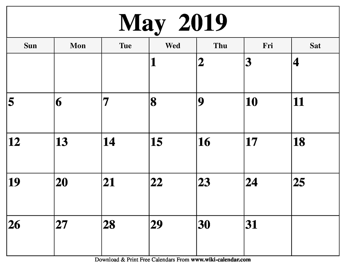 photograph regarding Printable Calendars May called Blank May possibly 2019 Calendar Printable - jsdo.it - Proportion