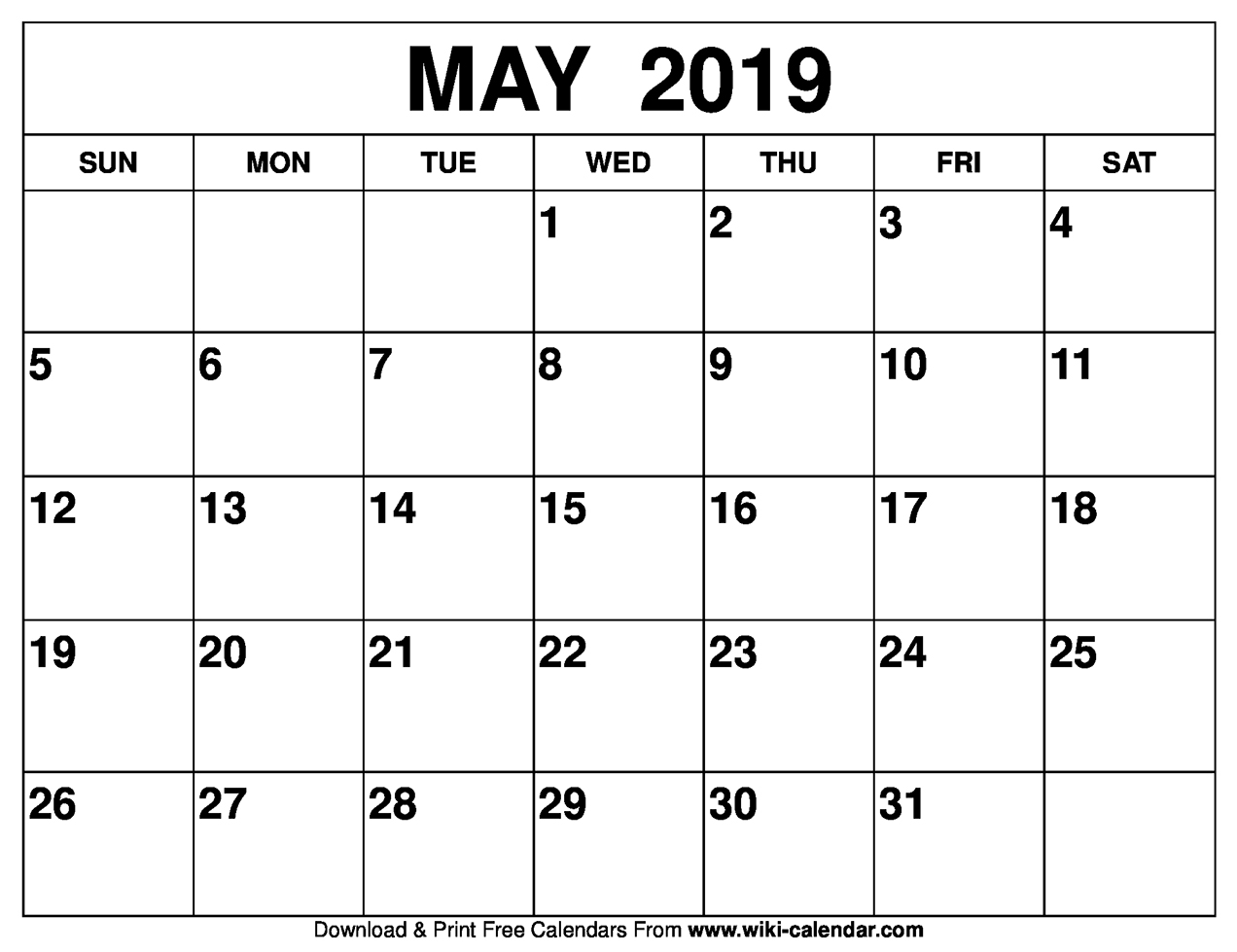 Blank Calendar For May 2019 Blank May 2019 Calendar Printable