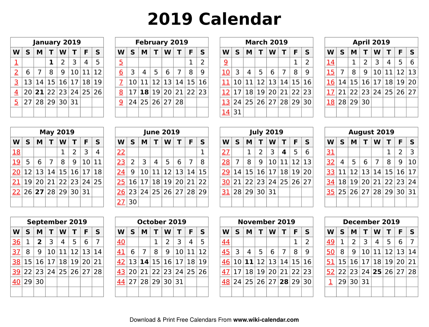 Printable Yearly 2019 Calendar