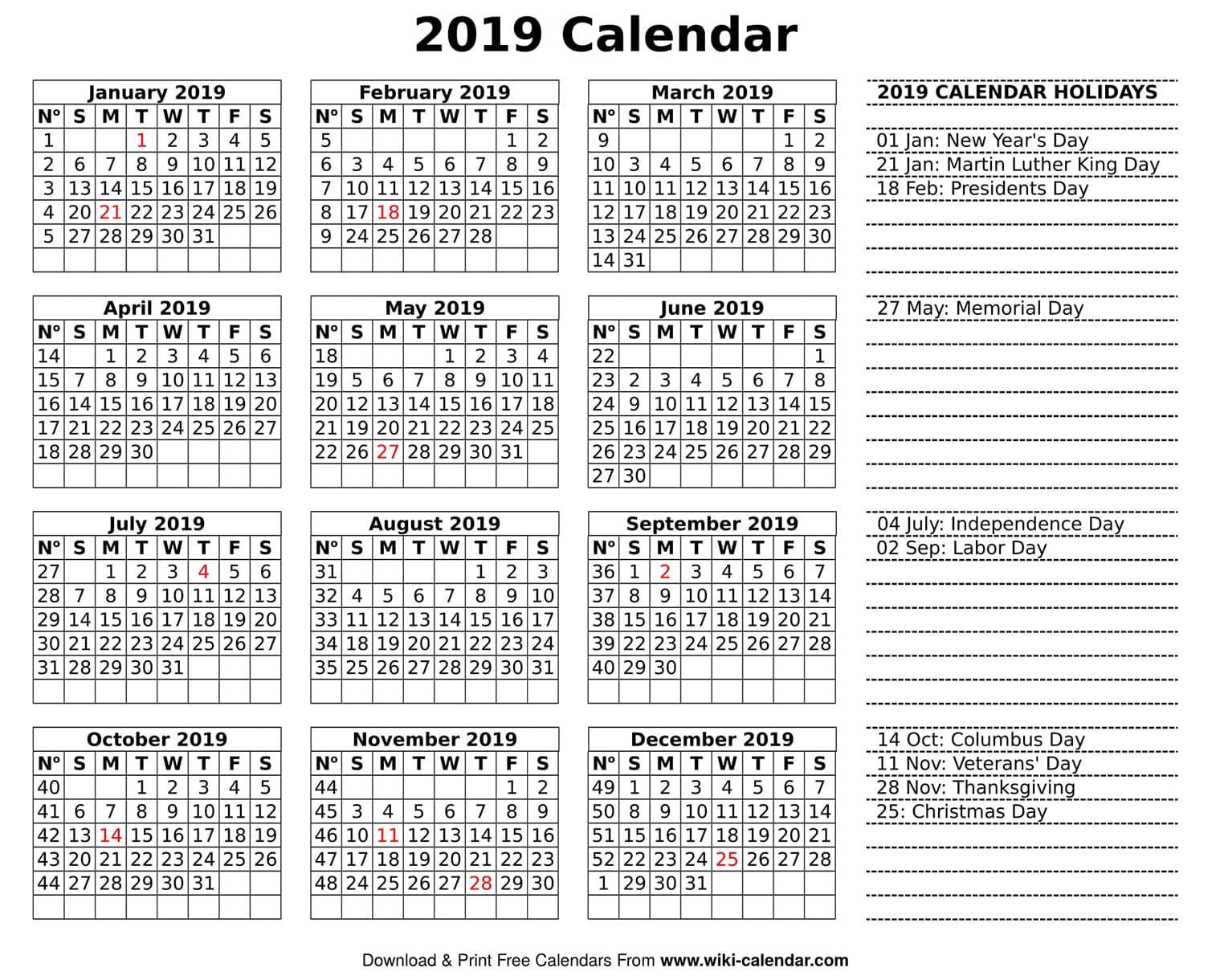 Blank 2019 Calendar