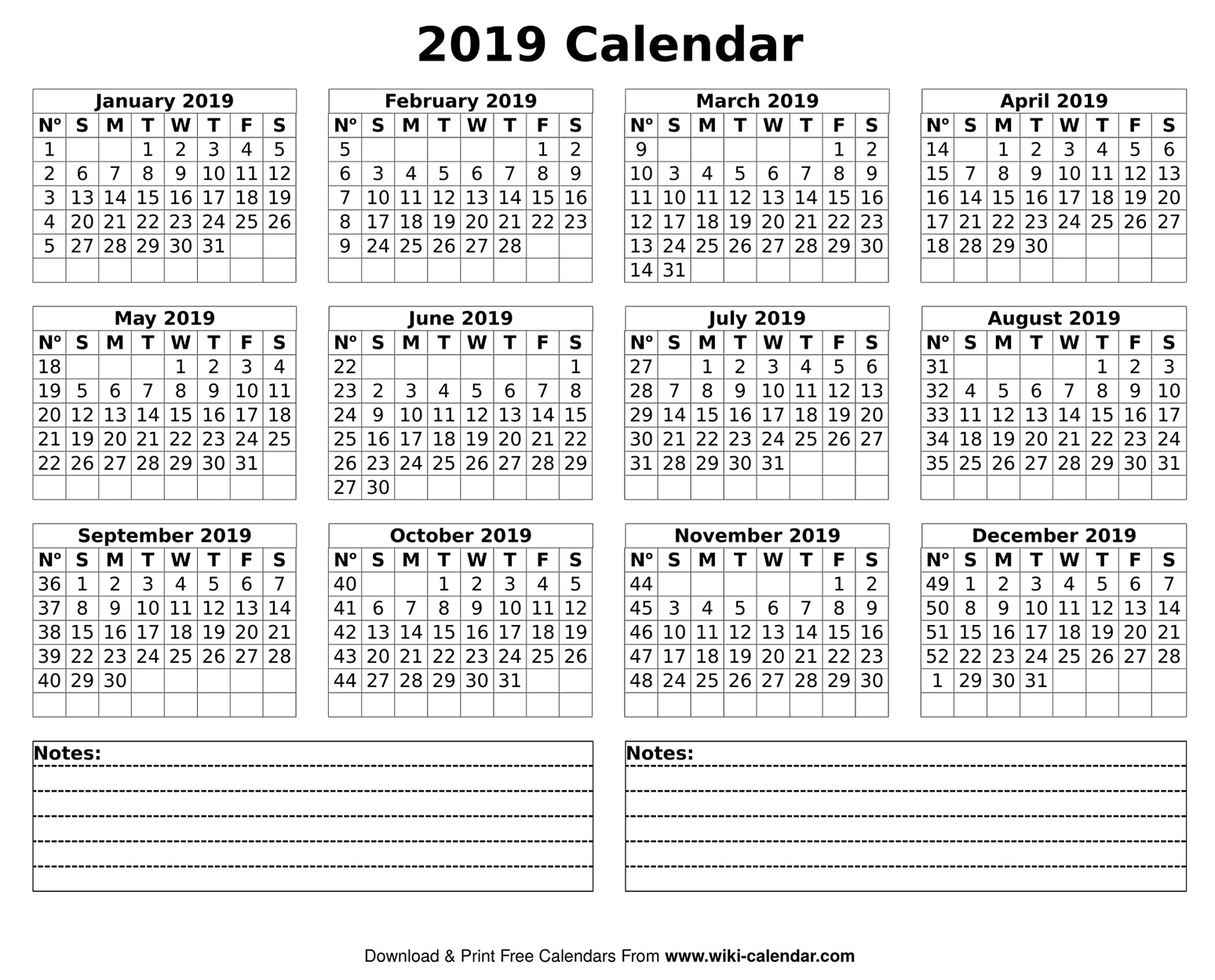 Yearly 2019 Calendar Template