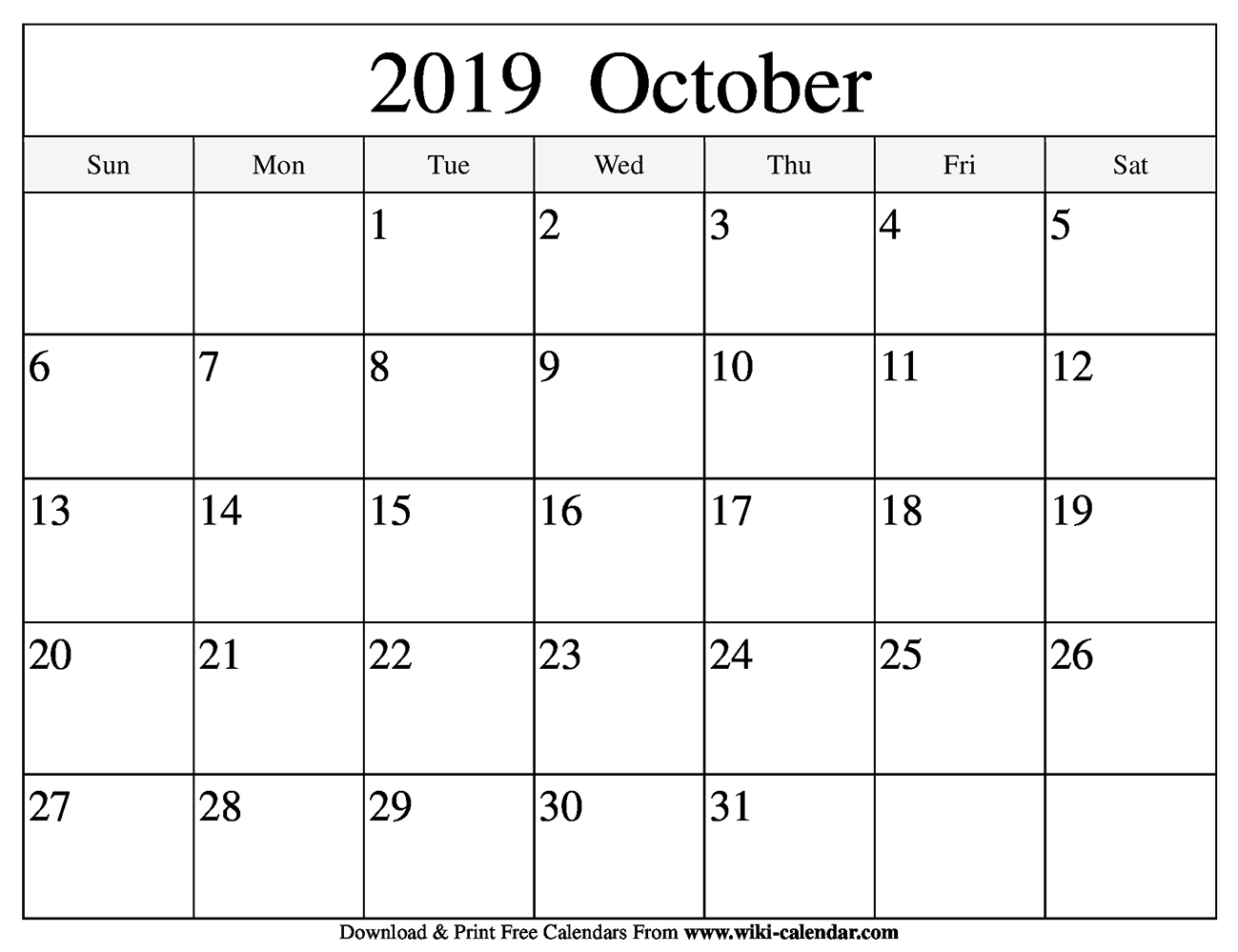 photo about October Calendar Printable named Free of charge Printable Oct 2019 Calendar