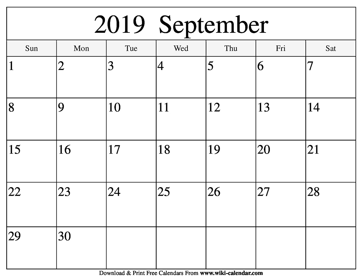 photo relating to Free Printable September Calendar referred to as No cost Printable September 2019 Calendar