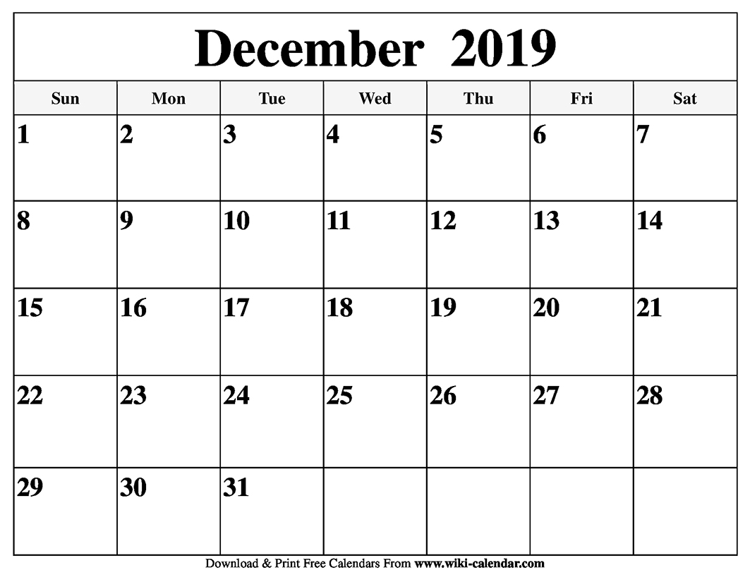 photo regarding Printable Monthly Calendar December named Free of charge Printable December 2019 Calendar