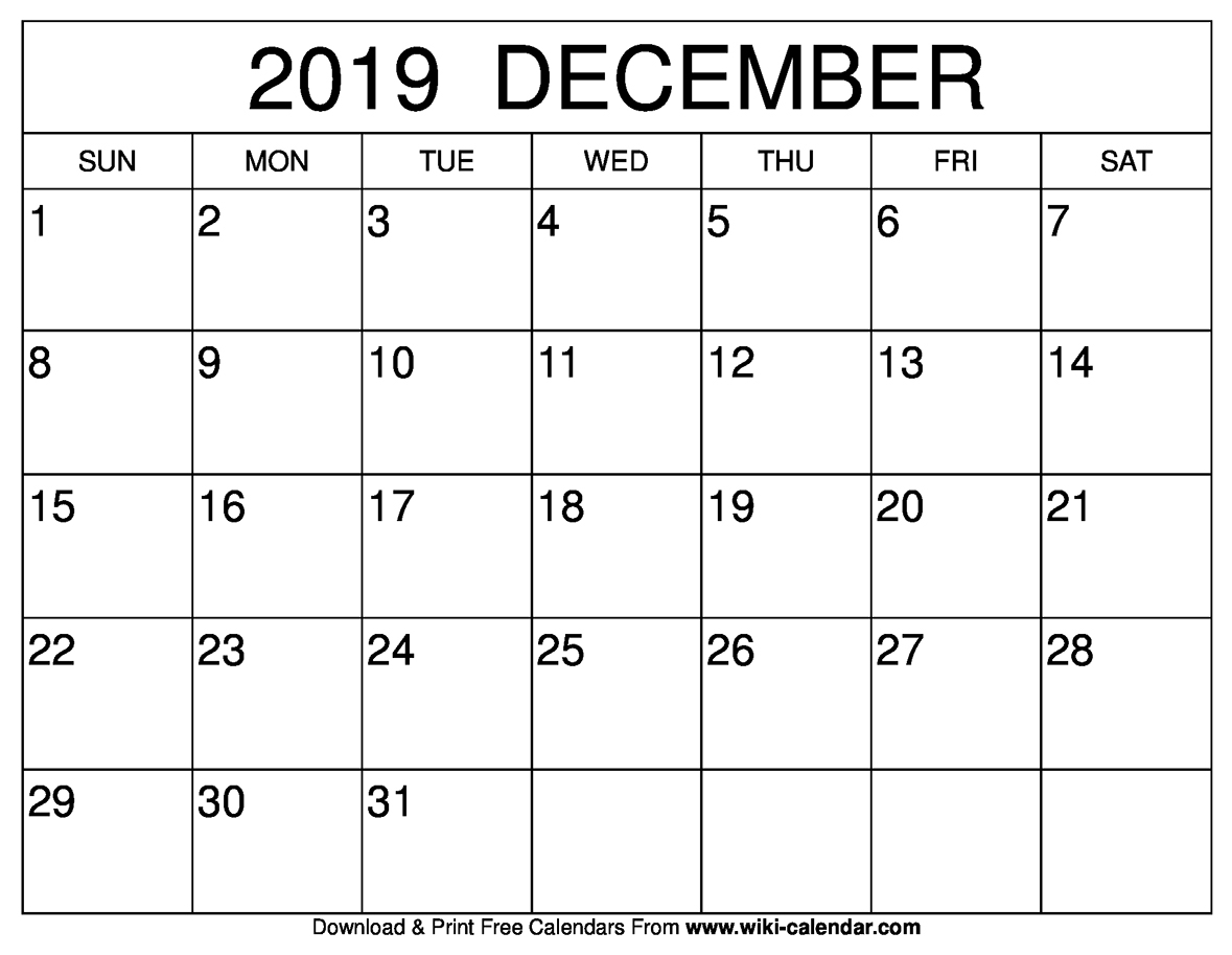 photograph about November and December Calendar Printable called Cost-free Printable December 2019 Calendar