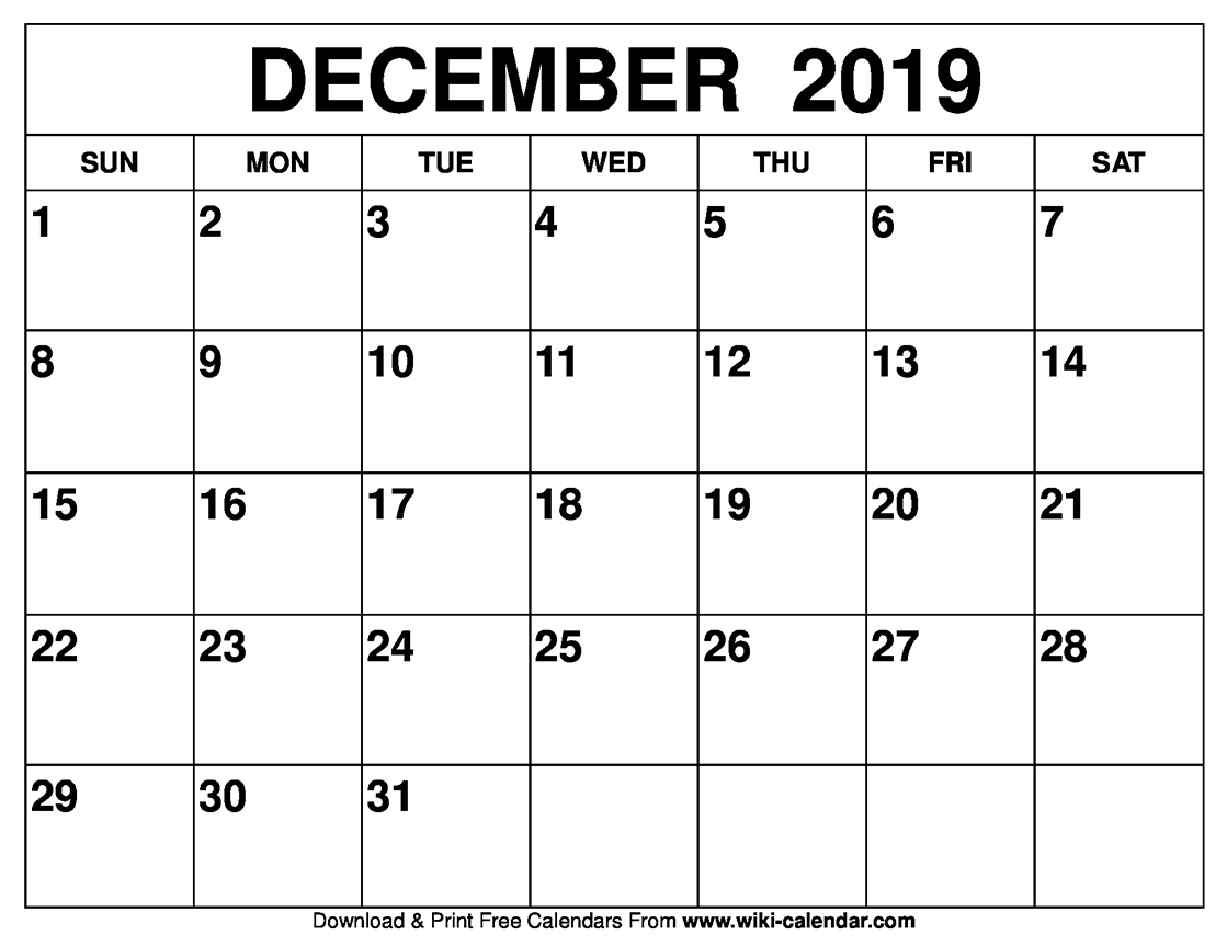 Picture Of Calendar For December 2019 Blank December 2019 Calendar Printable