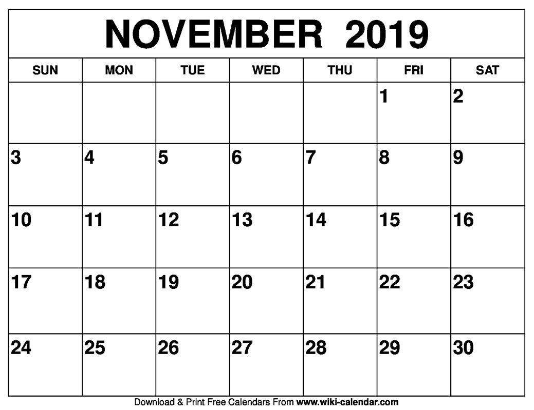 graphic about Free Printable November Calendar known as No cost Printable November 2019 Calendar