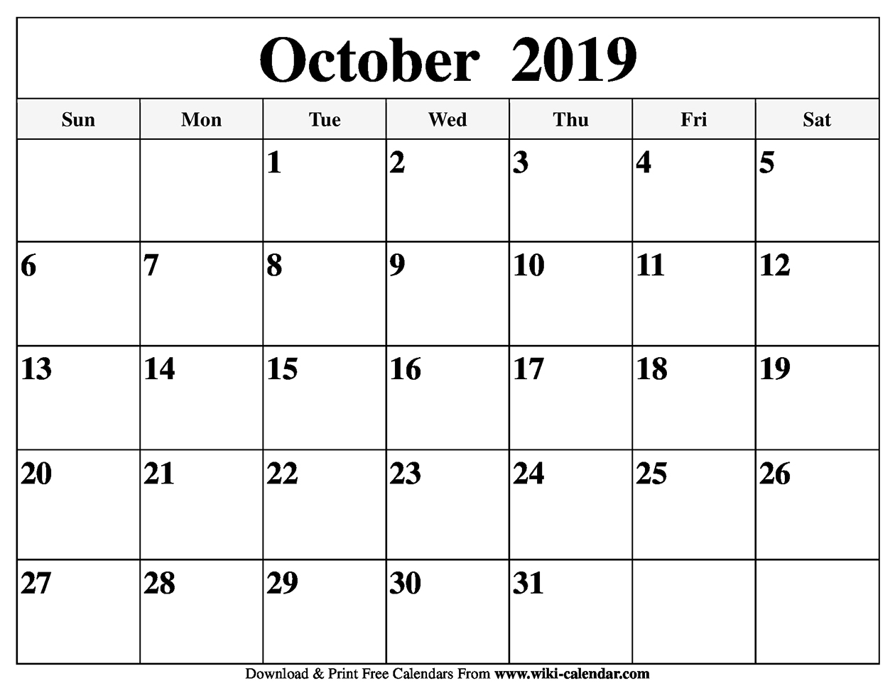 photograph relating to Printable Oct Calendar titled Totally free Printable Oct 2019 Calendar