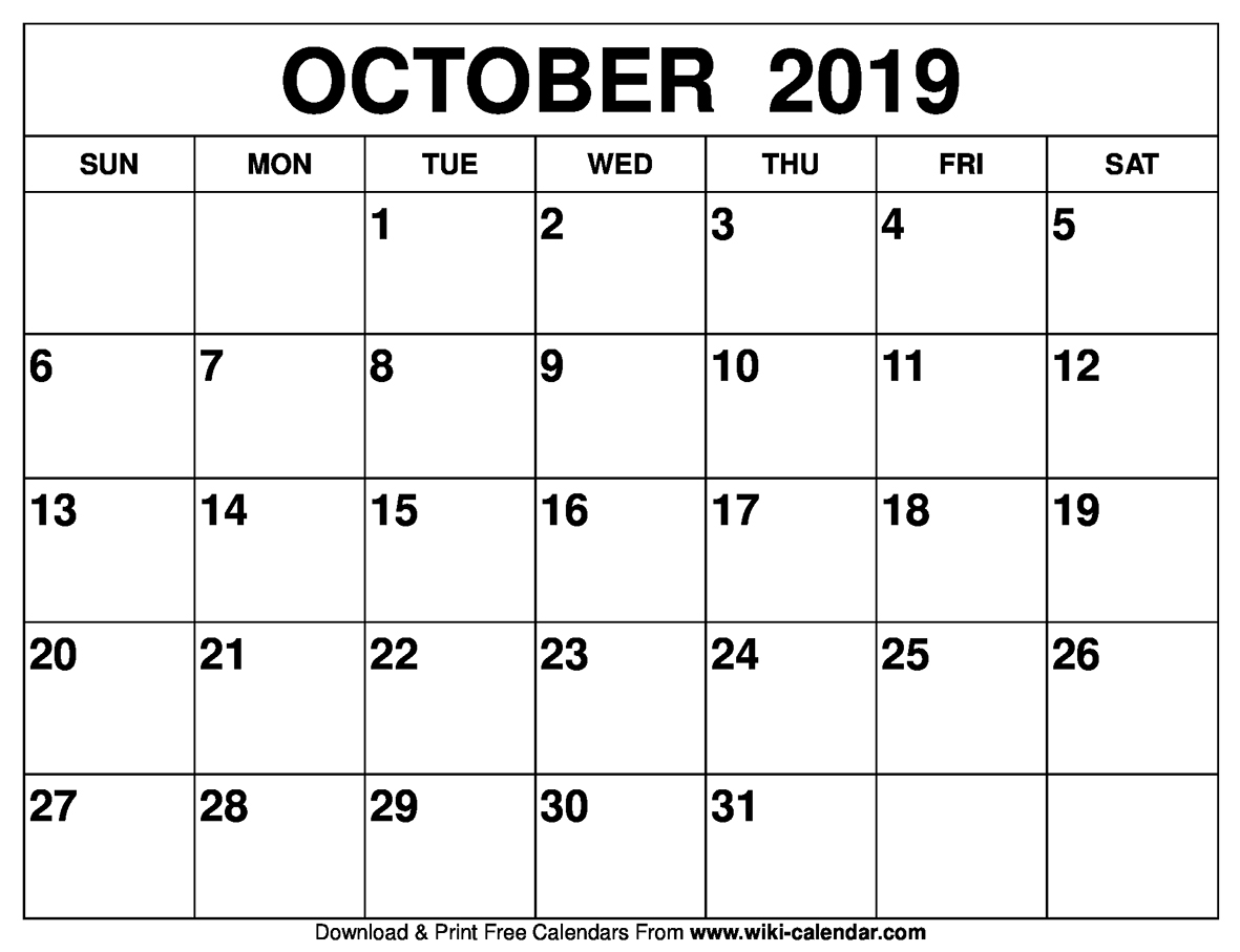 photograph about October Calendar Printable named Free of charge Printable Oct 2019 Calendar