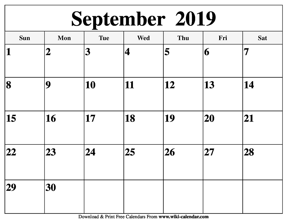 photograph relating to Calendar for Printable named Absolutely free Printable September 2019 Calendar