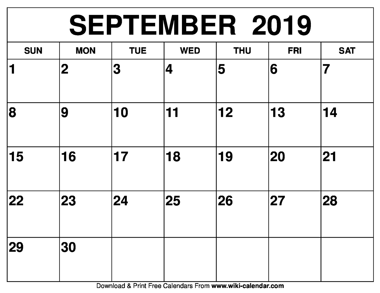 2019 Sept Calendar Blank September 2019 Calendar Printable