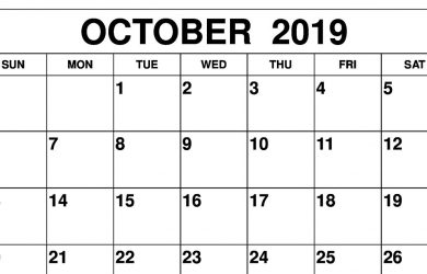 graphic regarding Printable October Calendars titled 2019 Month-to-month Calendar