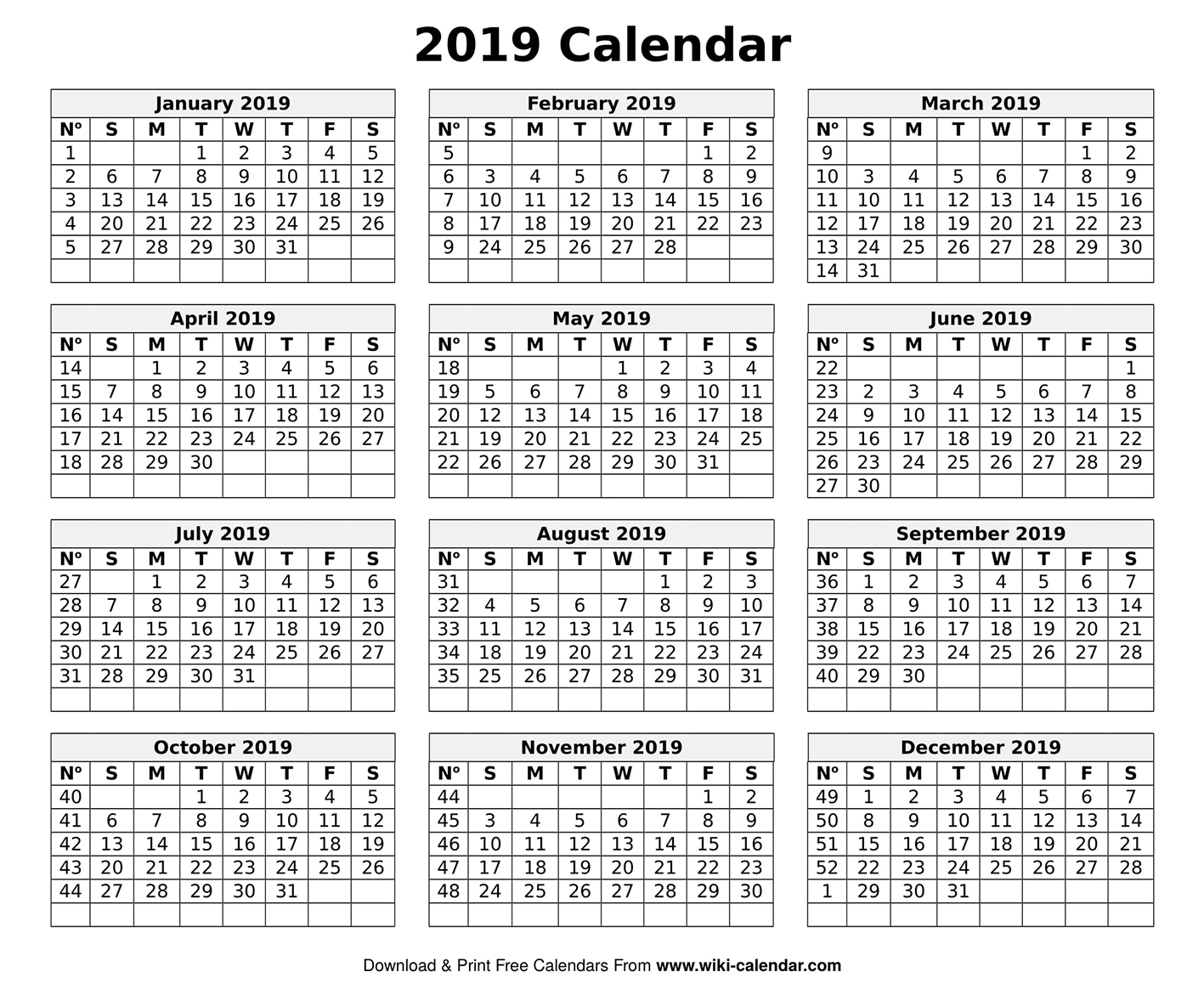 image relating to Calendar for Printable identify Printable Blank 2019 Calendar Templates