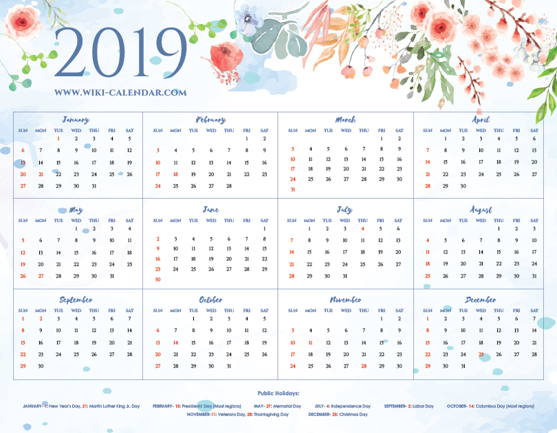 photograph relating to Calendar With Holidays Printable referred to as Printable Blank 2019 Calendar Templates