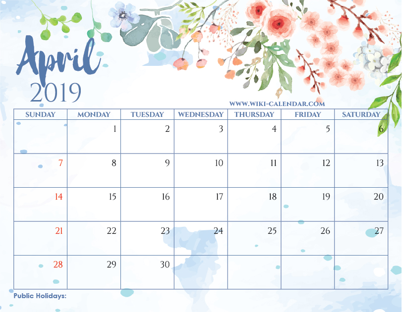 Effortless image intended for april calender printable