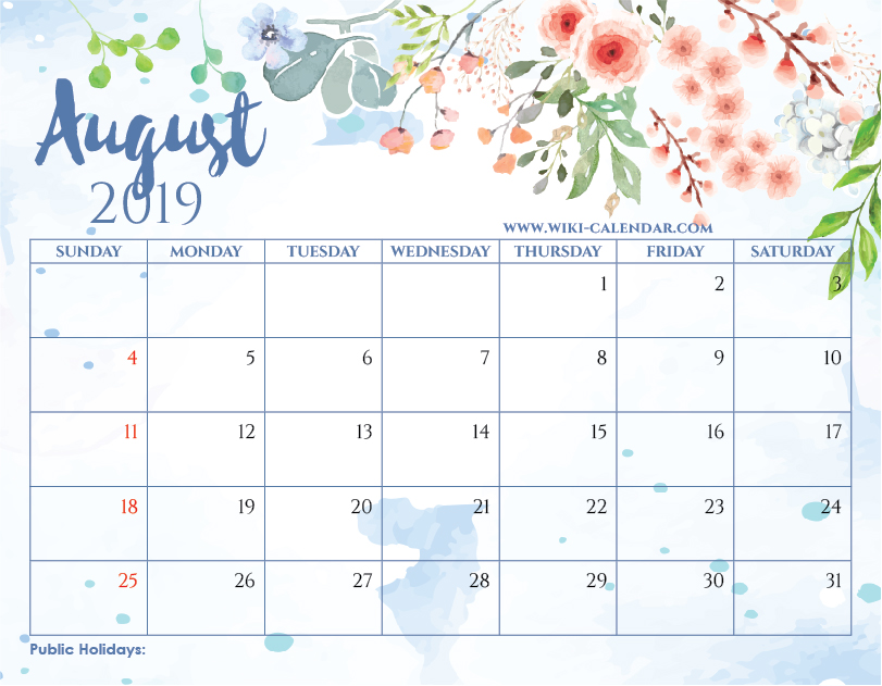 Free Printable August 2019 Floral Calendar with Holidays