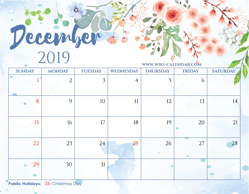 Free Printable December 2019 Floral Calendar with Holidays