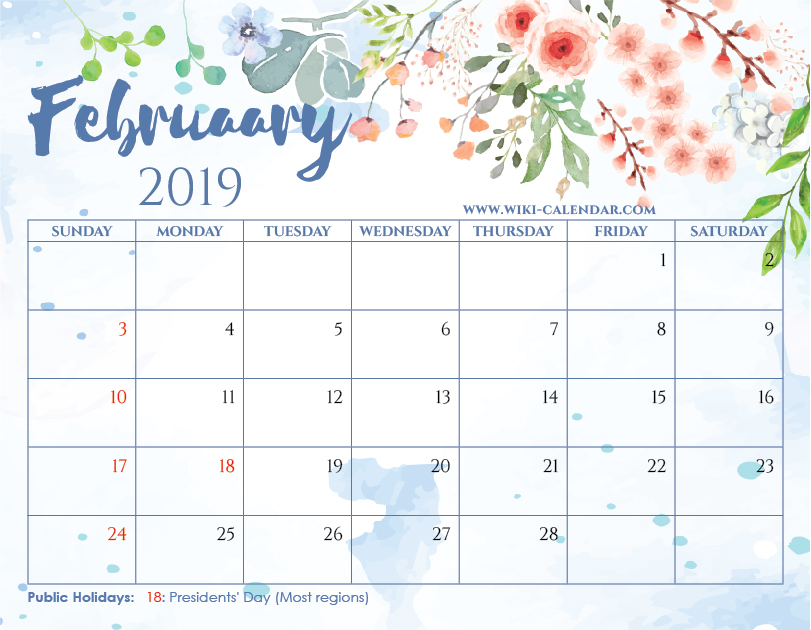 Free Printable February 2019 Floral Calendar with Holidays