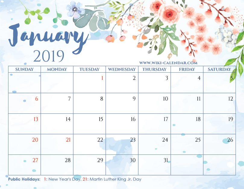 Free Printable January 2019 Floral Calendar with Holidays