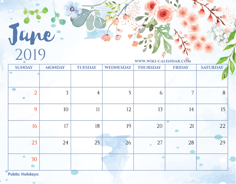 Blank June 2019 Calendar Printable on We Heart It