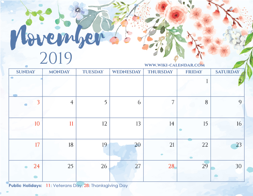 Free Printable November 2019 Floral Calendar with Holidays