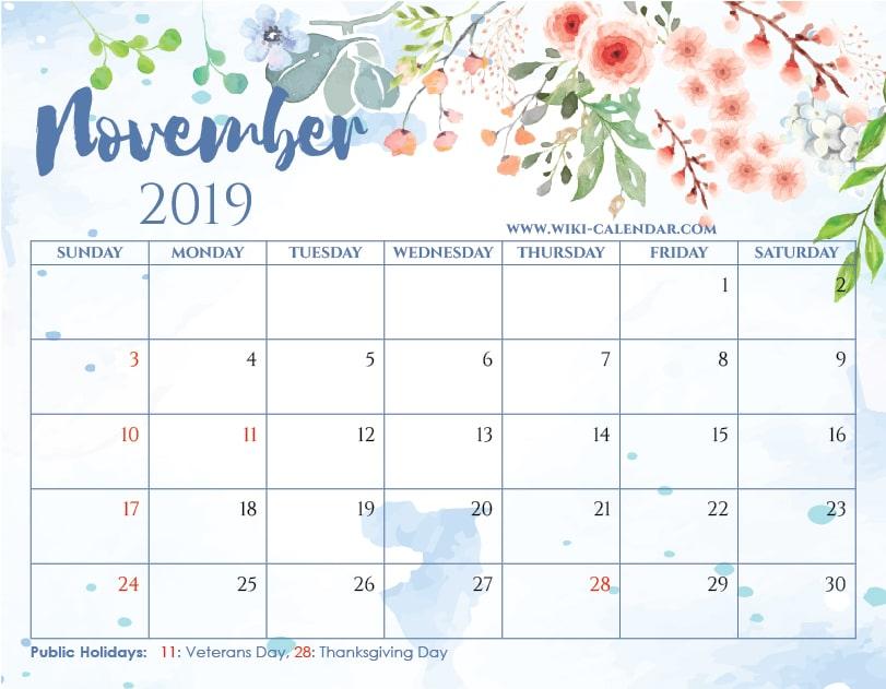 blank november 2019 calendar printable on we heart it
