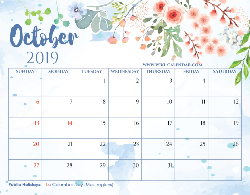 graphic relating to Printable Oct Calendar identified as Free of charge Printable Oct 2019 Calendar