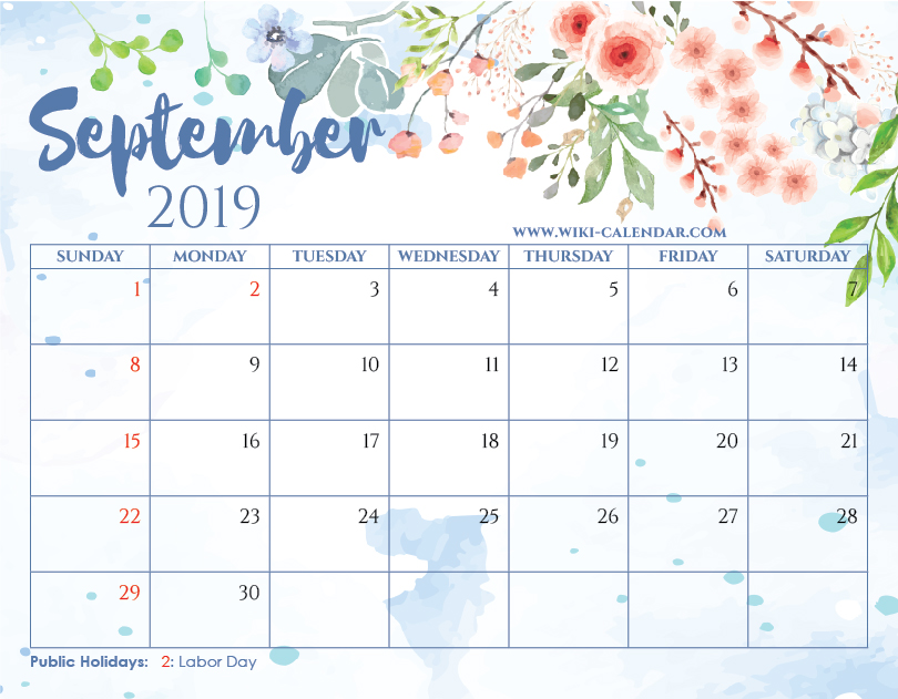 Free Printable September 2019 Floral Calendar with Holidays