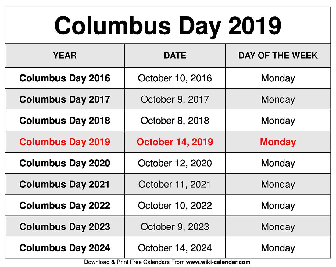 Columbus Day 2019 Calendar
