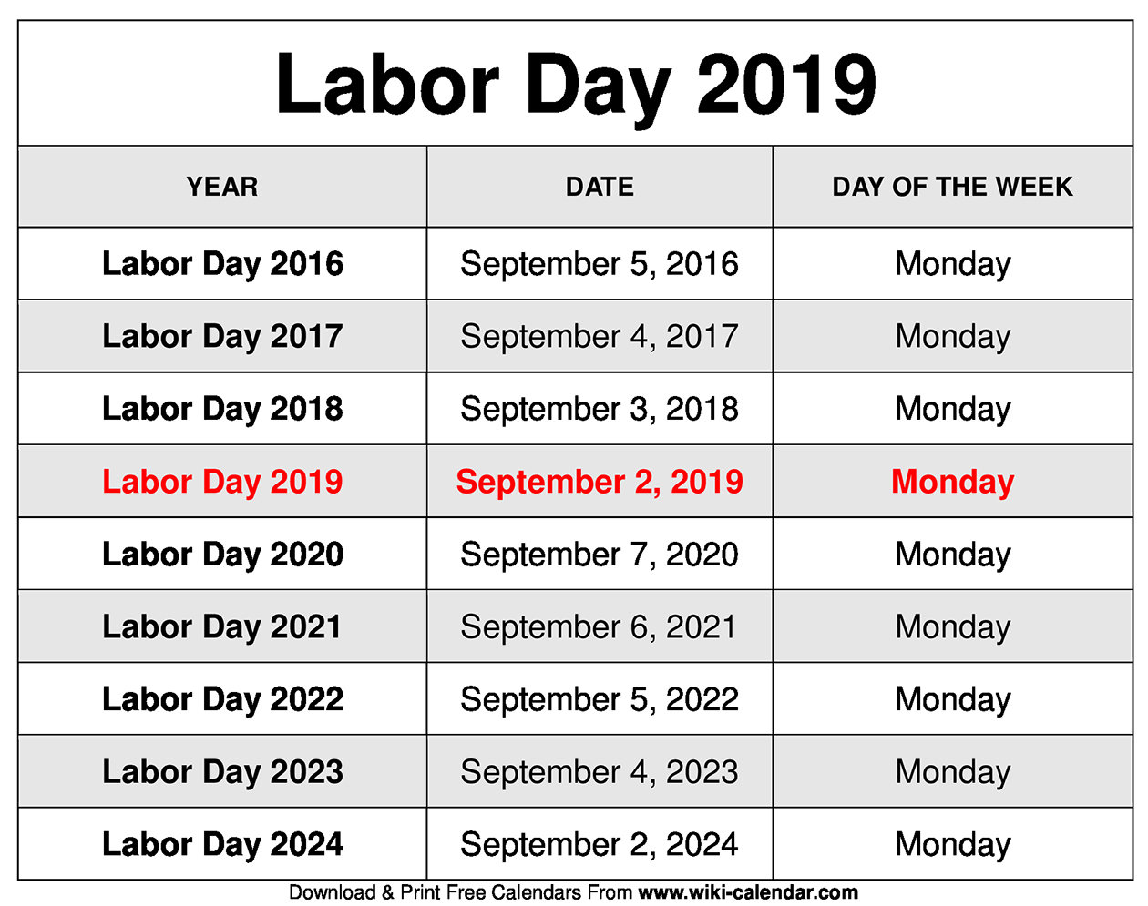 Labor Day 2019 Calendar